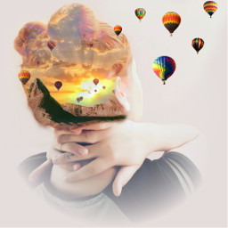 FreeToEdit edited doubleexposure hotairballoons sunset mountain woman redhair