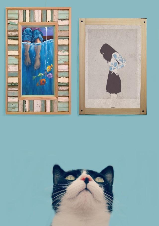 #FreeToEdit #sometimes #interesting #frame #painting #cat #art #woman #fish #blue #remixit #remixed #remix #remixes #things #thing