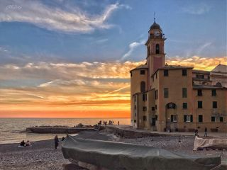 italy camogli liguria sunset winter