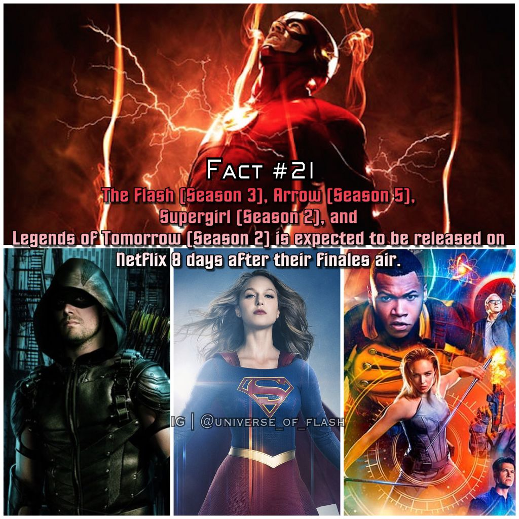 Legends of Tomorrow: April 12th, 2017 Supergirl: May 30th, 2017 The Flash: May 31st, 2017 Arrow: June 1st, 2017 #theflash #theflashcw #theflashseason3 #arrow #arrowseason5 #arrowcw #supergirl #supergirlcw #supergirlseason2 #legendsoftomorrow #legendsoftomorrowcw #legendsoftomorrowseason2